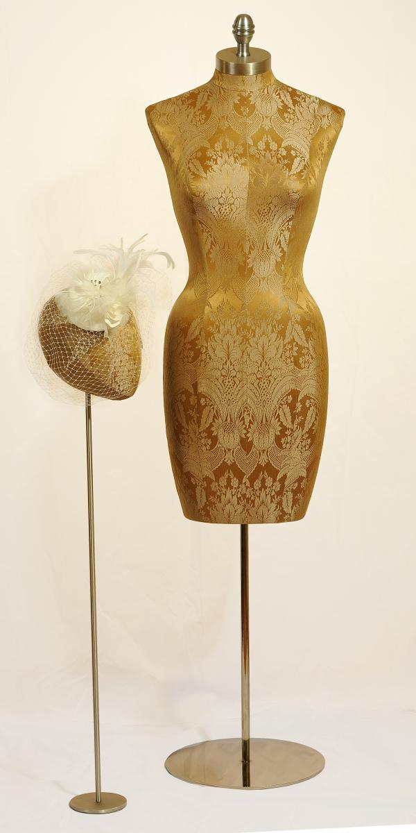 Brocade dress form with millinery bridal head for veils