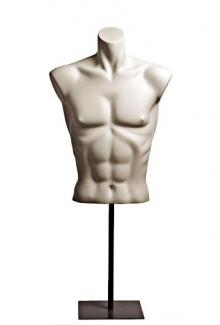 1072 Shirt Form with matching steel base - Male, 3/4 Mannequin Form