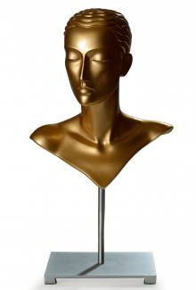 Mannequin Head for Jewelry and Hats DMJ83 Maxime Gold Female, Mannequin Millinery and Jewelry Display Head